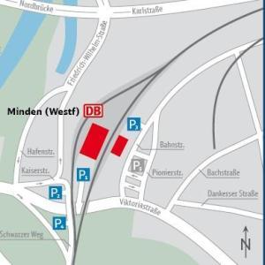 Mindener Bahnhof. Großer Parkplatz